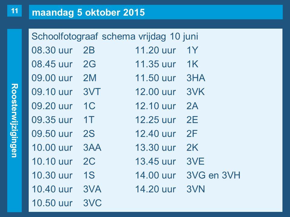 maandag 5 oktober 2015 Roosterwijzigingen Schoolfotograaf schema vrijdag 10 juni 08.30 uur2B11.20 uur1Y 08.45 uur2G11.35 uur1K 09.00 uur2M11.50 uur3HA 09.10 uur3VT12.00 uur3VK 09.20 uur1C12.10 uur2A 09.35 uur1T12.25 uur2E 09.50 uur2S12.40 uur2F 10.00 uur3AA13.30 uur2K 10.10 uur2C13.45 uur3VE 10.30 uur1S14.00 uur3VG en 3VH 10.40 uur3VA14.20 uur3VN 10.50 uur3VC 11