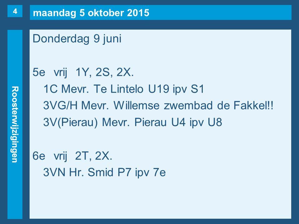 maandag 5 oktober 2015 Roosterwijzigingen Donderdag 9 juni 5evrij1Y, 2S, 2X.