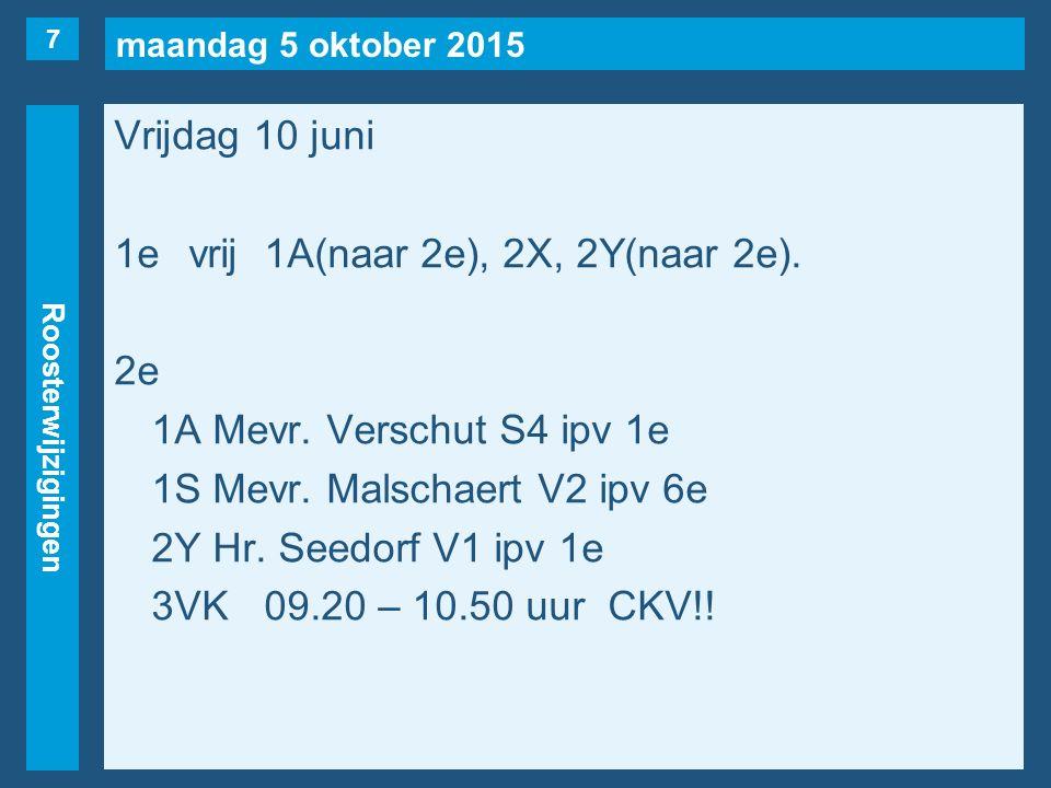 maandag 5 oktober 2015 Roosterwijzigingen Vrijdag 10 juni 1evrij1A(naar 2e), 2X, 2Y(naar 2e).