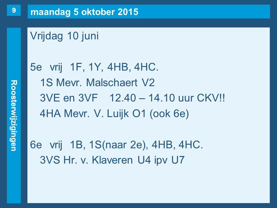 maandag 5 oktober 2015 Roosterwijzigingen Vrijdag 10 juni 5evrij1F, 1Y, 4HB, 4HC.