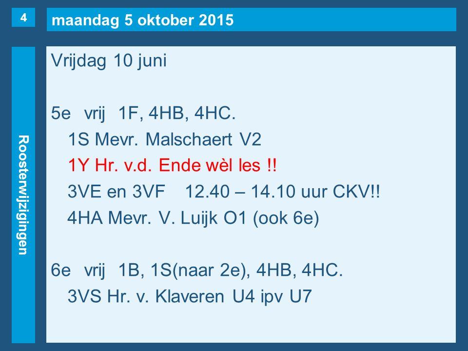 maandag 5 oktober 2015 Roosterwijzigingen Vrijdag 10 juni 5evrij1F, 4HB, 4HC.