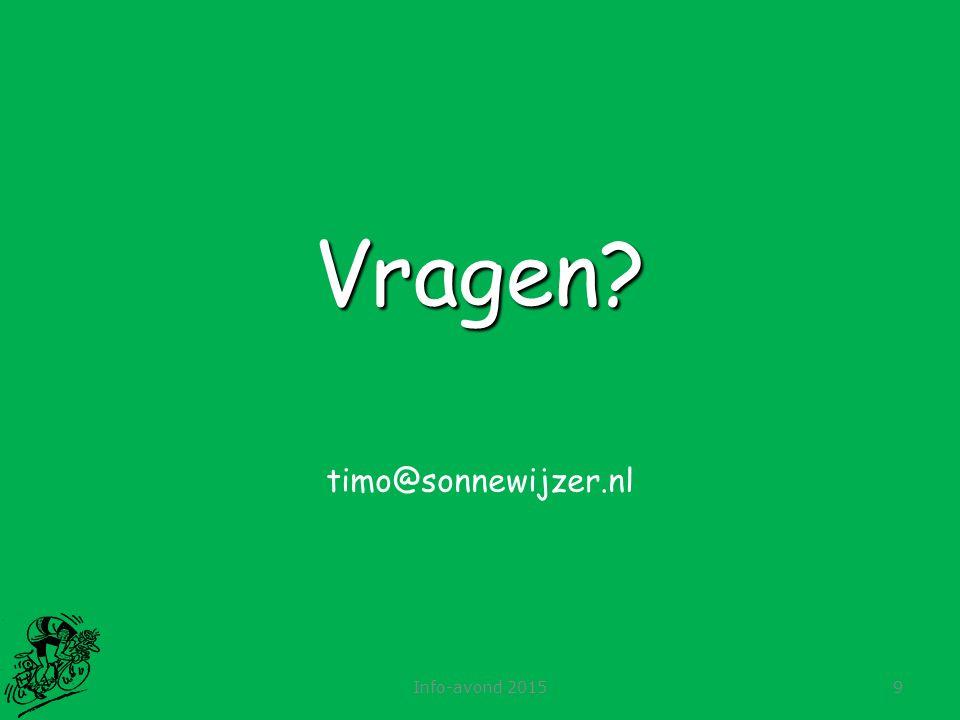 Info-avond 20159 Vragen? timo@sonnewijzer.nl