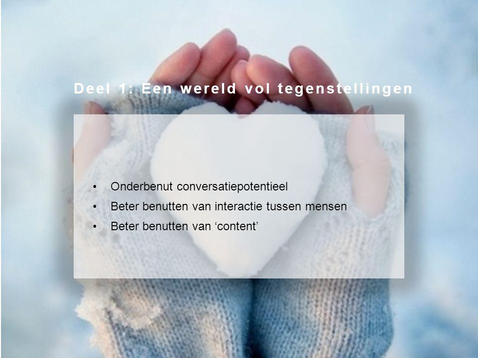 Onderbenut conversatiepotentieel Beter benutten van interactie tussen mensen Beter benutten van 'content' Deel 1: Een wereld vol tegenstellingen