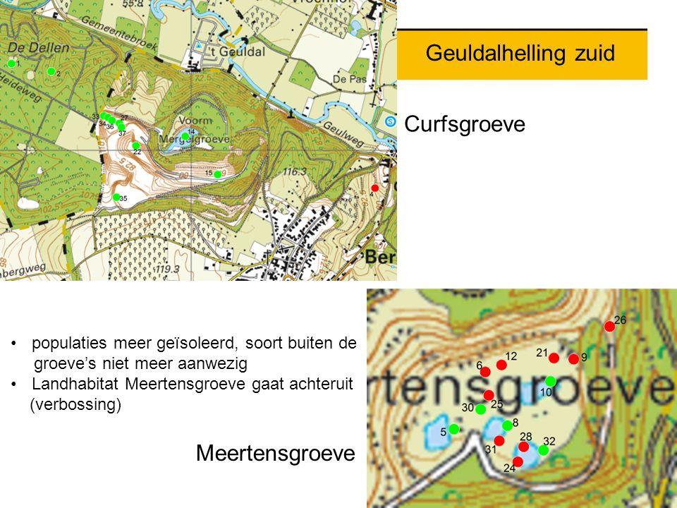 Geuldalhelling zuid Meertensgroeve populaties meer geïsoleerd, soort buiten de groeve's niet meer aanwezig Landhabitat Meertensgroeve gaat achteruit (