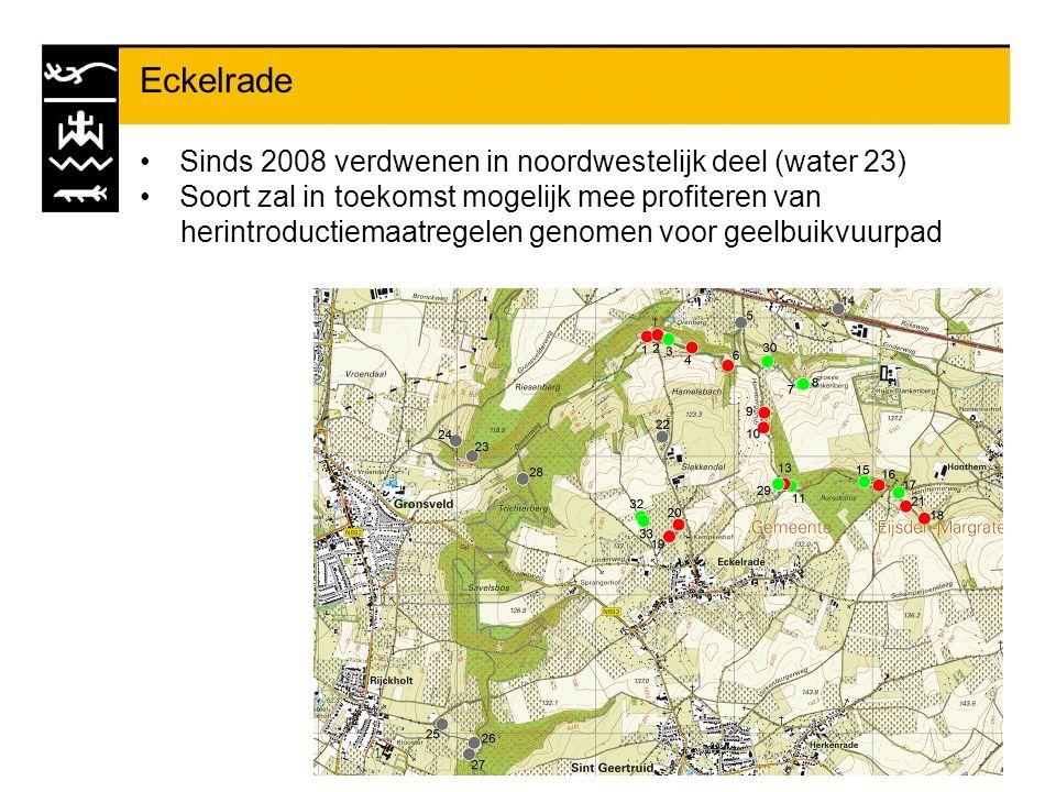 Eckelrade Sinds 2008 verdwenen in noordwestelijk deel (water 23) Soort zal in toekomst mogelijk mee profiteren van herintroductiemaatregelen genomen v