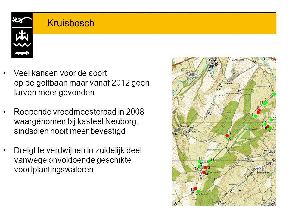 Kruisbosch Veel kansen voor de soort op de golfbaan maar vanaf 2012 geen larven meer gevonden. Roepende vroedmeesterpad in 2008 waargenomen bij kastee