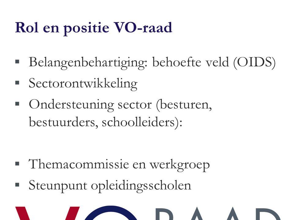 Rol en positie VO-raad  Belangenbehartiging: behoefte veld (OIDS)  Sectorontwikkeling  Ondersteuning sector (besturen, bestuurders, schoolleiders):  Themacommissie en werkgroep  Steunpunt opleidingsscholen