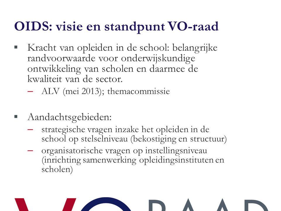 OIDS: visie en standpunt VO-raad  Kracht van opleiden in de school: belangrijke randvoorwaarde voor onderwijskundige ontwikkeling van scholen en daarmee de kwaliteit van de sector.