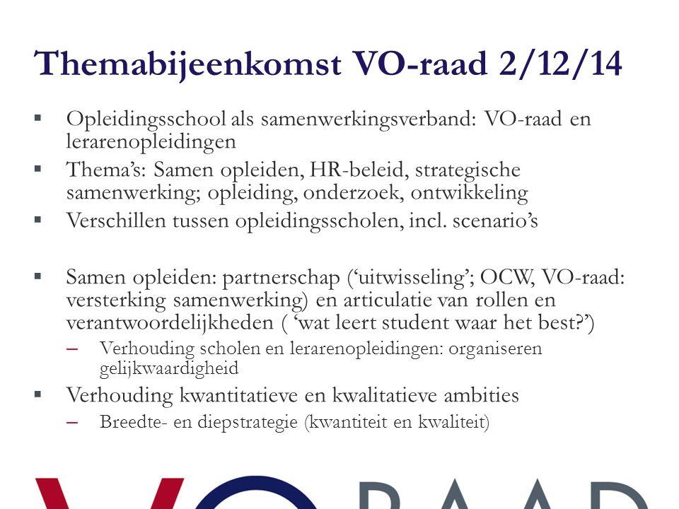 Themabijeenkomst VO-raad 2/12/14  Opleidingsschool als samenwerkingsverband: VO-raad en lerarenopleidingen  Thema's: Samen opleiden, HR-beleid, strategische samenwerking; opleiding, onderzoek, ontwikkeling  Verschillen tussen opleidingsscholen, incl.