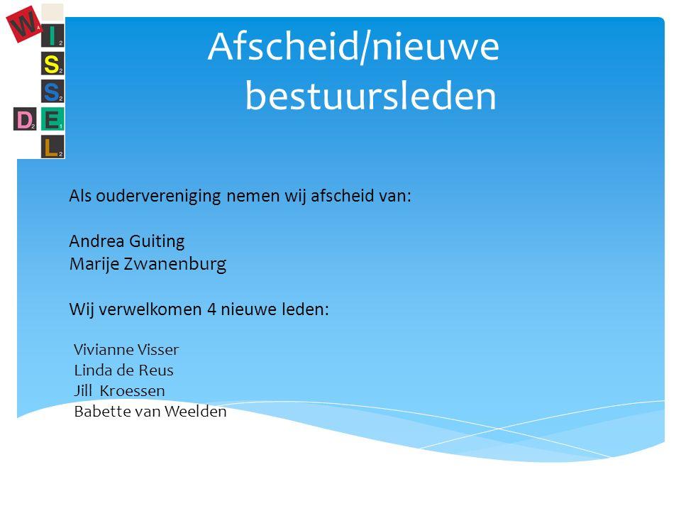 Afscheid/nieuwe bestuursleden Als oudervereniging nemen wij afscheid van: Andrea Guiting Marije Zwanenburg Wij verwelkomen 4 nieuwe leden: Vivianne Visser Linda de Reus Jill Kroessen Babette van Weelden
