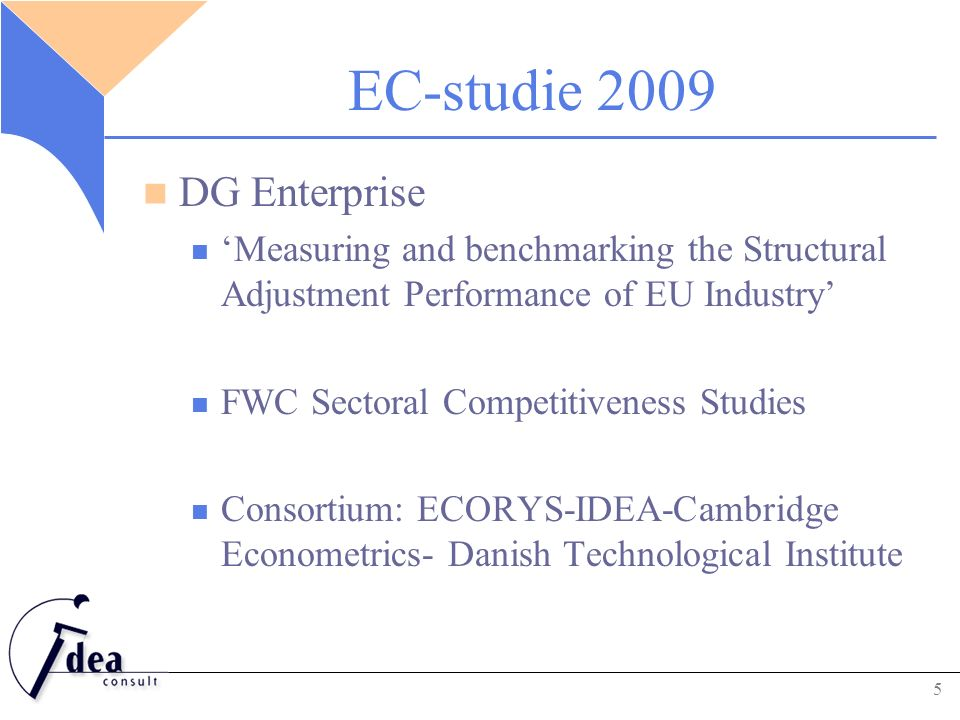 EC-studie 2009 DG Enterprise 'Measuring and benchmarking the Structural Adjustment Performance of EU Industry' FWC Sectoral Competitiveness Studies Co