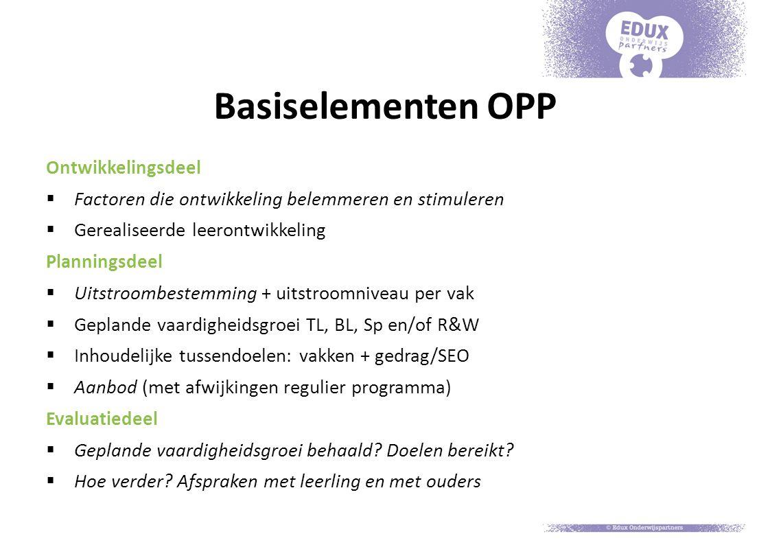 Basiselementen OPP Ontwikkelingsdeel  Factoren die ontwikkeling belemmeren en stimuleren  Gerealiseerde leerontwikkeling Planningsdeel  Uitstroombe