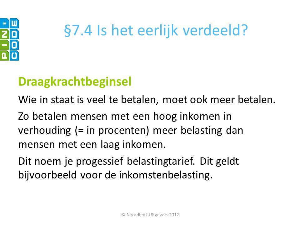 © Noordhoff Uitgevers 2012 Draagkrachtbeginsel Wie in staat is veel te betalen, moet ook meer betalen. Zo betalen mensen met een hoog inkomen in verho