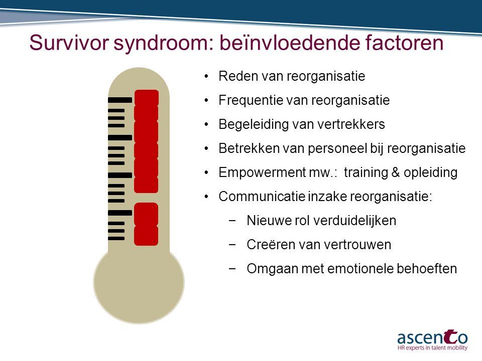 Survivor syndroom: beïnvloedende factoren Reden van reorganisatie Frequentie van reorganisatie Begeleiding van vertrekkers Betrekken van personeel bij