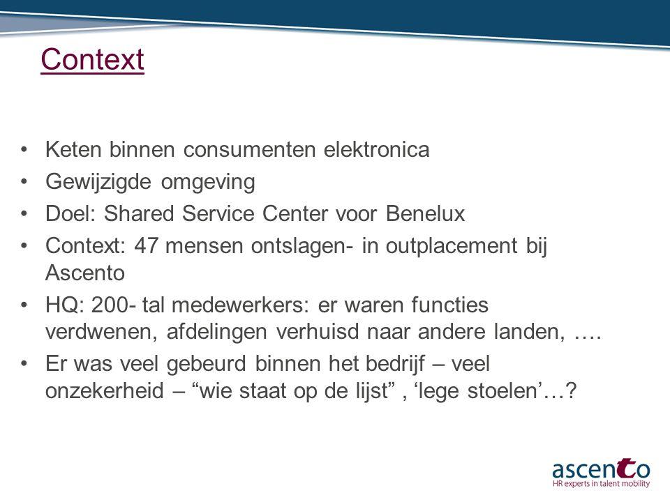 Context Keten binnen consumenten elektronica Gewijzigde omgeving Doel: Shared Service Center voor Benelux Context: 47 mensen ontslagen- in outplacemen