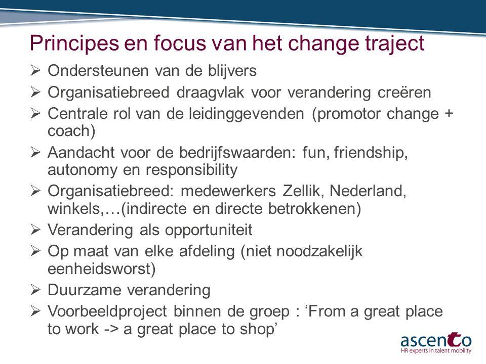 Principes en focus van het change traject  Ondersteunen van de blijvers  Organisatiebreed draagvlak voor verandering creëren  Centrale rol van de l