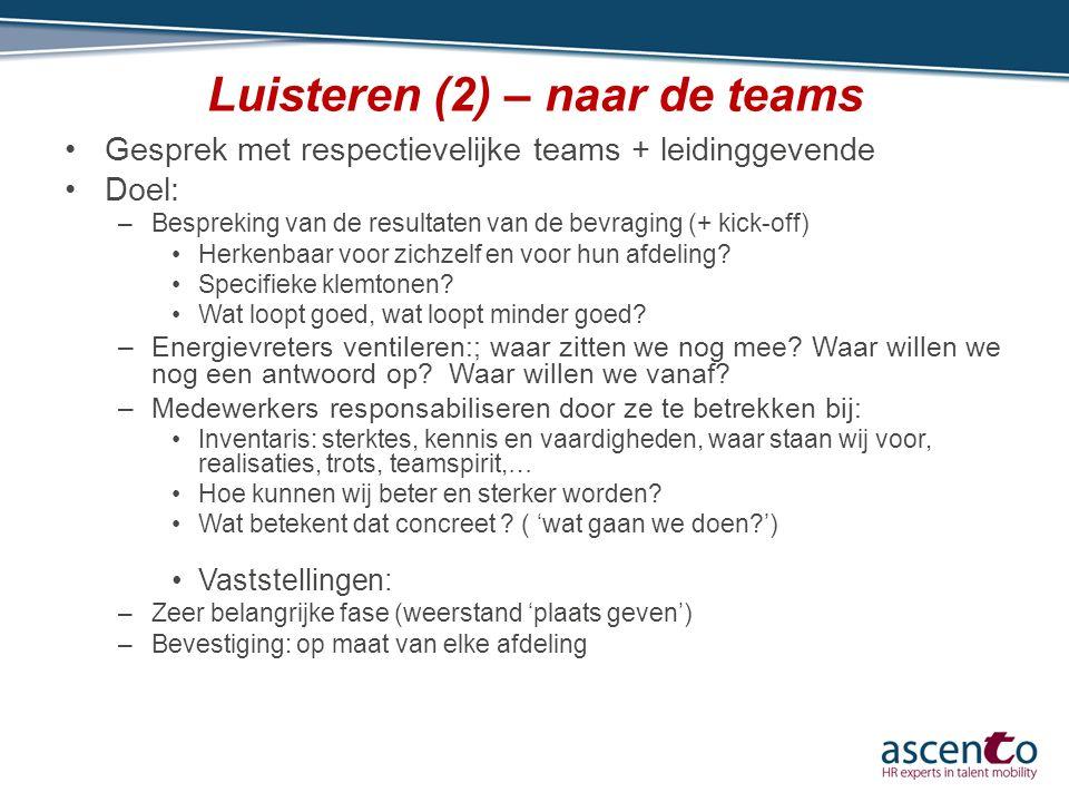 Luisteren (2) – naar de teams Gesprek met respectievelijke teams + leidinggevende Doel: –Bespreking van de resultaten van de bevraging (+ kick-off) He