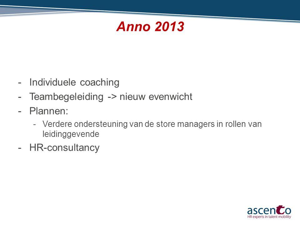 Anno 2013 -Individuele coaching -Teambegeleiding -> nieuw evenwicht -Plannen: -Verdere ondersteuning van de store managers in rollen van leidinggevend