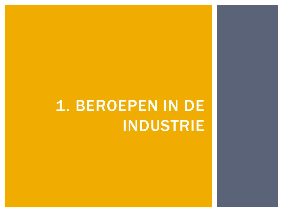 1. BEROEPEN IN DE INDUSTRIE