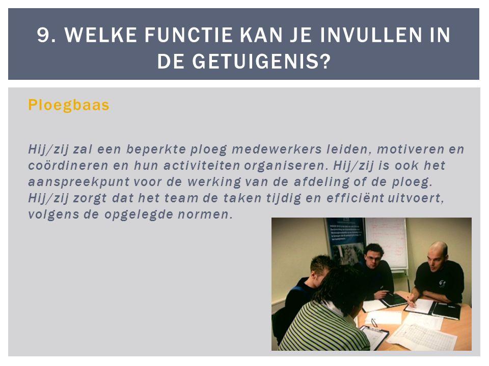 Ploegbaas Hij/zij zal een beperkte ploeg medewerkers leiden, motiveren en coördineren en hun activiteiten organiseren.