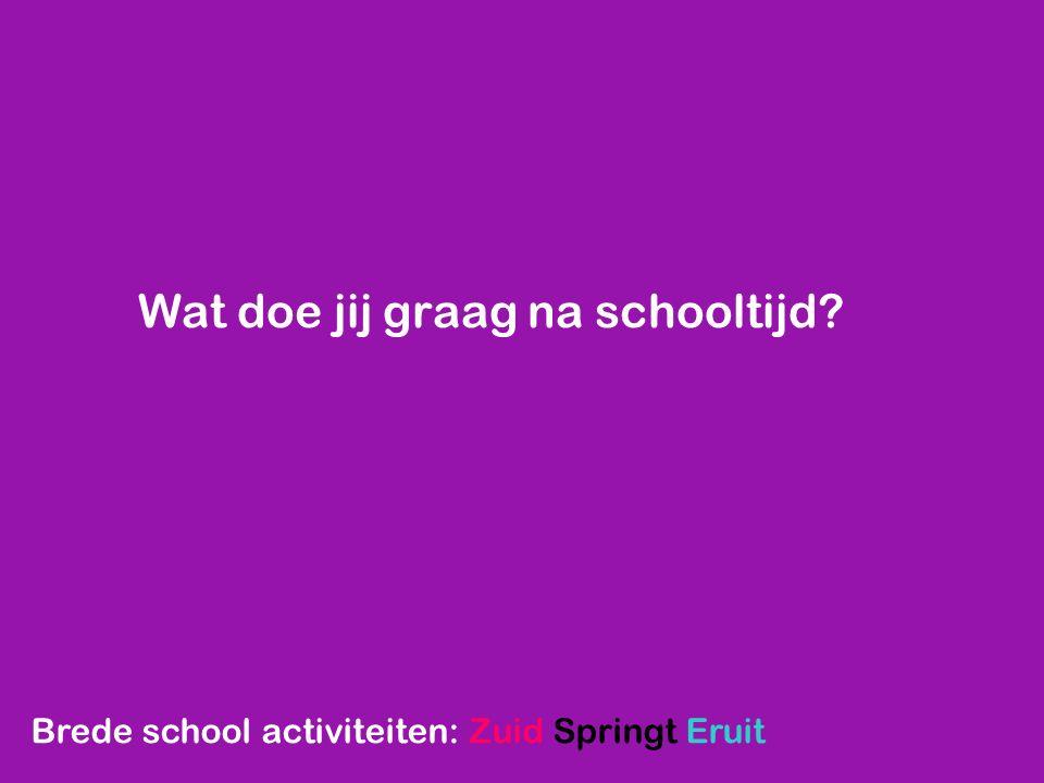 Wat doe jij graag na schooltijd? Brede school activiteiten: Zuid Springt Eruit