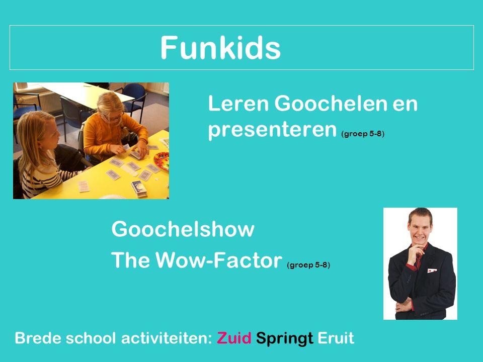 Brede school activiteiten: Zuid Springt Eruit Funkids Leren Goochelen en presenteren (groep 5-8) Goochelshow The Wow-Factor (groep 5-8)