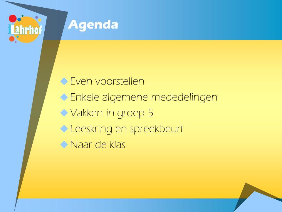 Agenda  Even voorstellen  Enkele algemene mededelingen  Vakken in groep 5  Leeskring en spreekbeurt  Naar de klas