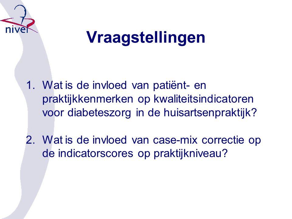 Vraagstellingen 1.Wat is de invloed van patiënt- en praktijkkenmerken op kwaliteitsindicatoren voor diabeteszorg in de huisartsenpraktijk.