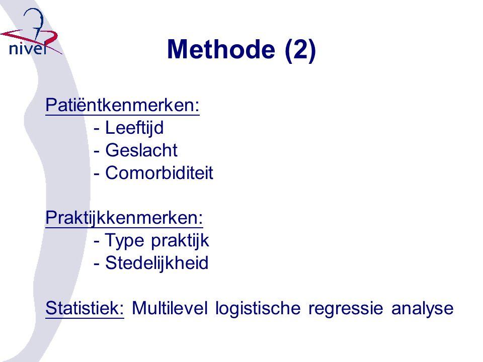Methode (2) Patiëntkenmerken: - Leeftijd - Geslacht - Comorbiditeit Praktijkkenmerken: - Type praktijk - Stedelijkheid Statistiek: Multilevel logistische regressie analyse