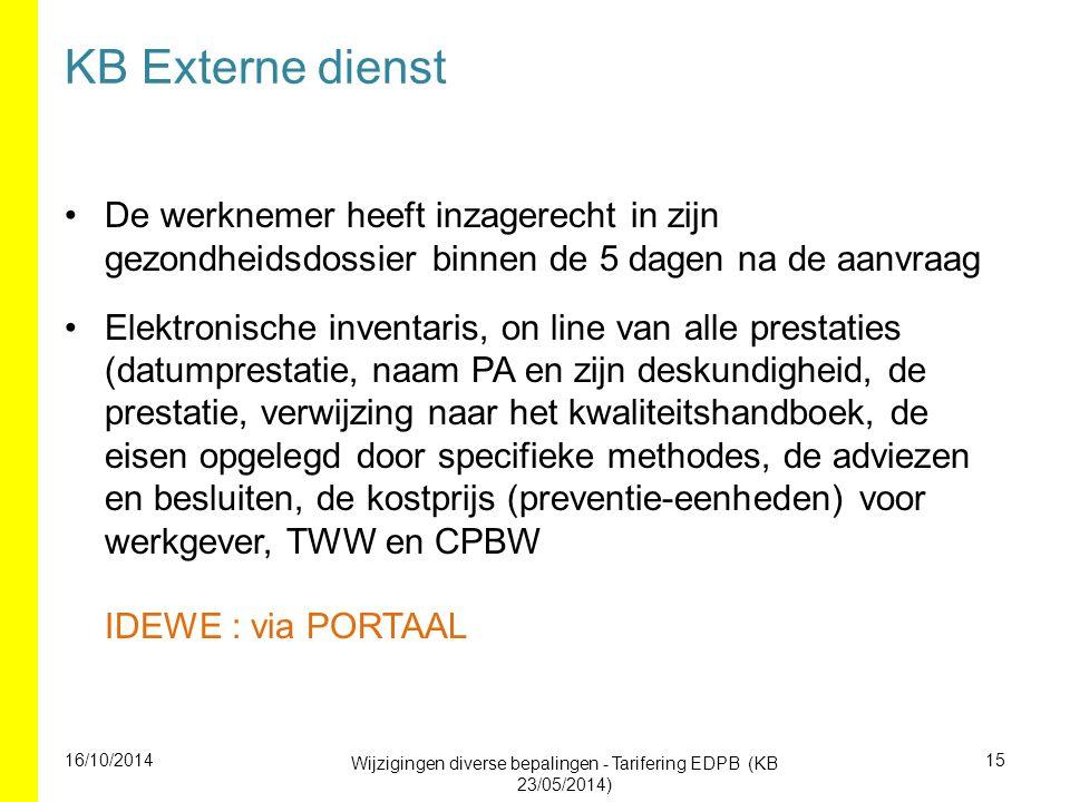 KB Externe dienst De werknemer heeft inzagerecht in zijn gezondheidsdossier binnen de 5 dagen na de aanvraag Elektronische inventaris, on line van all