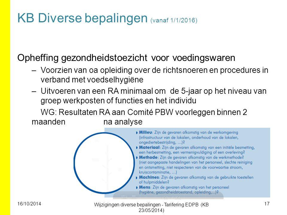 KB Diverse bepalingen (vanaf 1/1/2016) Opheffing gezondheidstoezicht voor voedingswaren –Voorzien van oa opleiding over de richtsnoeren en procedures in verband met voedselhygiëne –Uitvoeren van een RA minimaal om de 5-jaar op het niveau van groep werkposten of functies en het individu WG: Resultaten RA aan Comité PBW voorleggen binnen 2 maanden na analyse 16/10/2014 Wijzigingen diverse bepalingen - Tarifering EDPB (KB 23/05/2014) 17