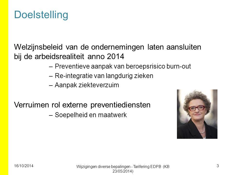 Doelstelling Welzijnsbeleid van de ondernemingen laten aansluiten bij de arbeidsrealiteit anno 2014 –Preventieve aanpak van beroepsrisico burn-out –Re