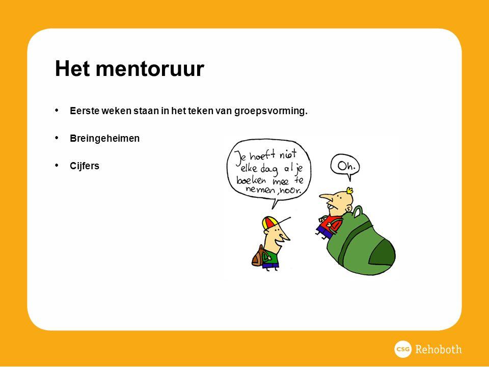 Het mentoruur Eerste weken staan in het teken van groepsvorming. Breingeheimen Cijfers