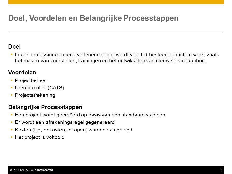 ©2011 SAP AG. All rights reserved.2 Doel, Voordelen en Belangrijke Processtappen Doel  In een professioneel dienstverlenend bedrijf wordt veel tijd b