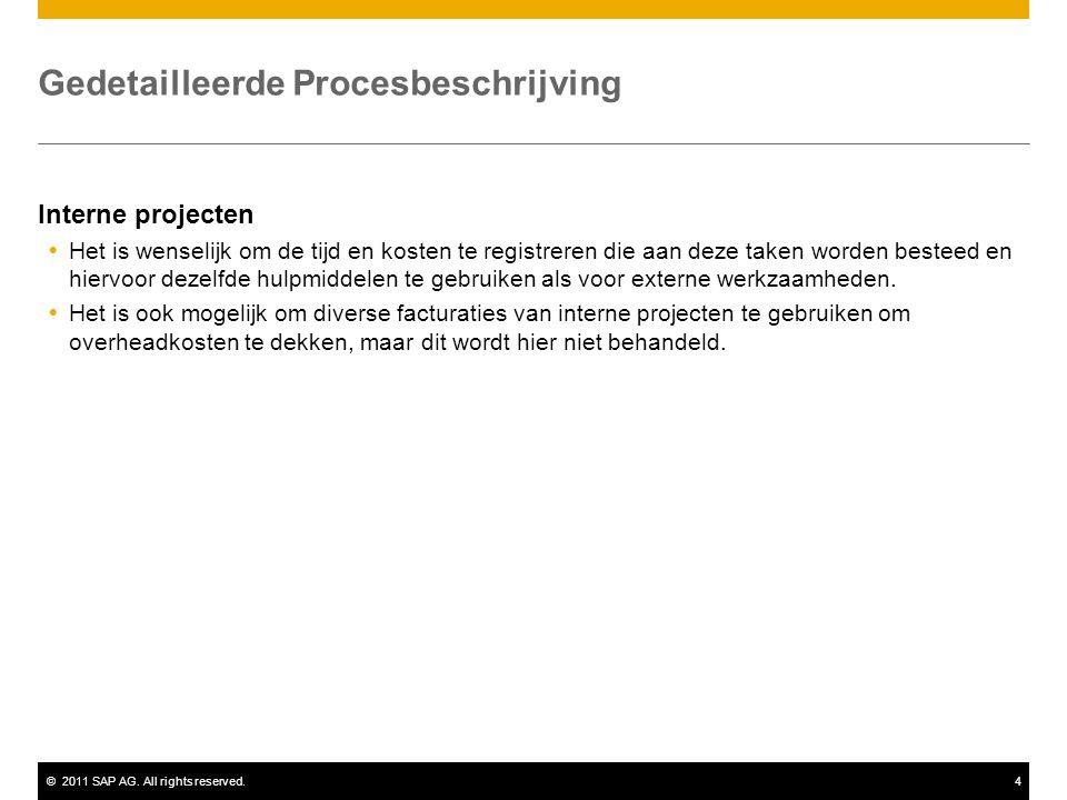 ©2011 SAP AG. All rights reserved.4 Gedetailleerde Procesbeschrijving Interne projecten  Het is wenselijk om de tijd en kosten te registreren die aan