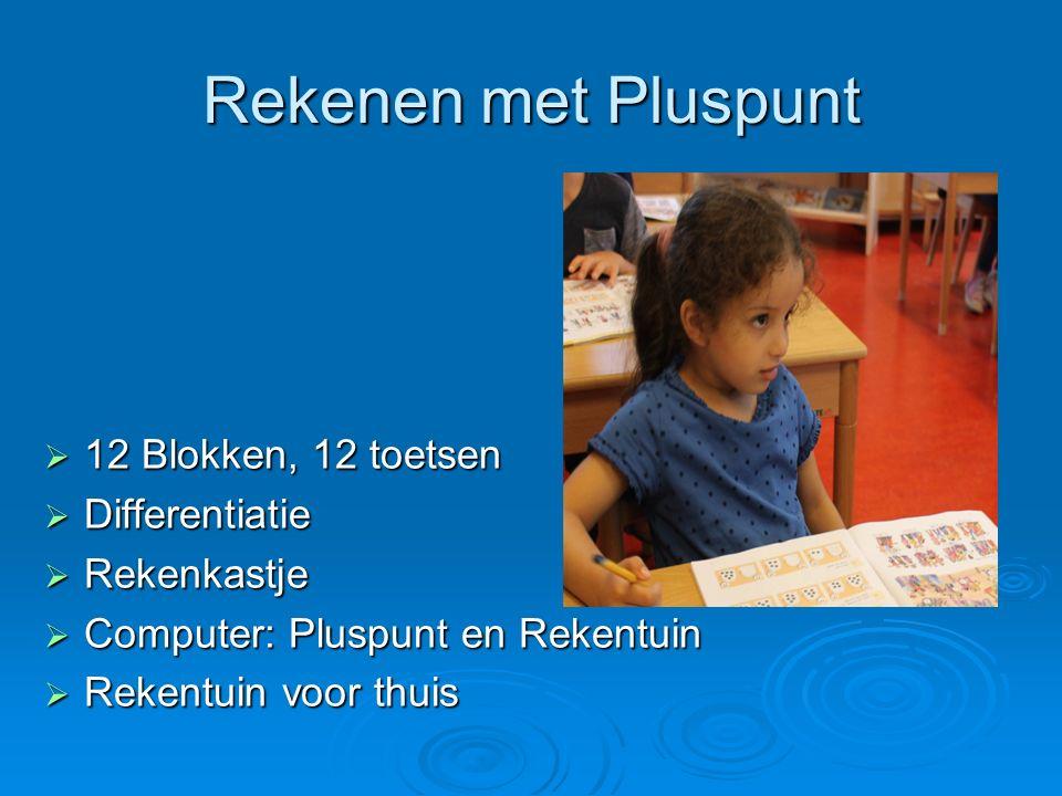 Rekenen met Pluspunt  12 Blokken, 12 toetsen  Differentiatie  Rekenkastje  Computer: Pluspunt en Rekentuin  Rekentuin voor thuis