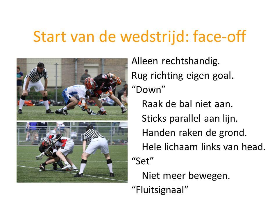"""Start van de wedstrijd: face-off Alleen rechtshandig. Rug richting eigen goal. """"Down"""" Raak de bal niet aan. Sticks parallel aan lijn. Handen raken de"""