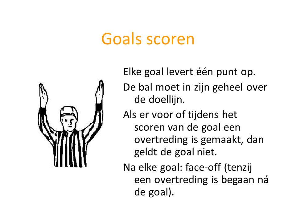 Goals scoren Elke goal levert één punt op. De bal moet in zijn geheel over de doellijn. Als er voor of tijdens het scoren van de goal een overtreding