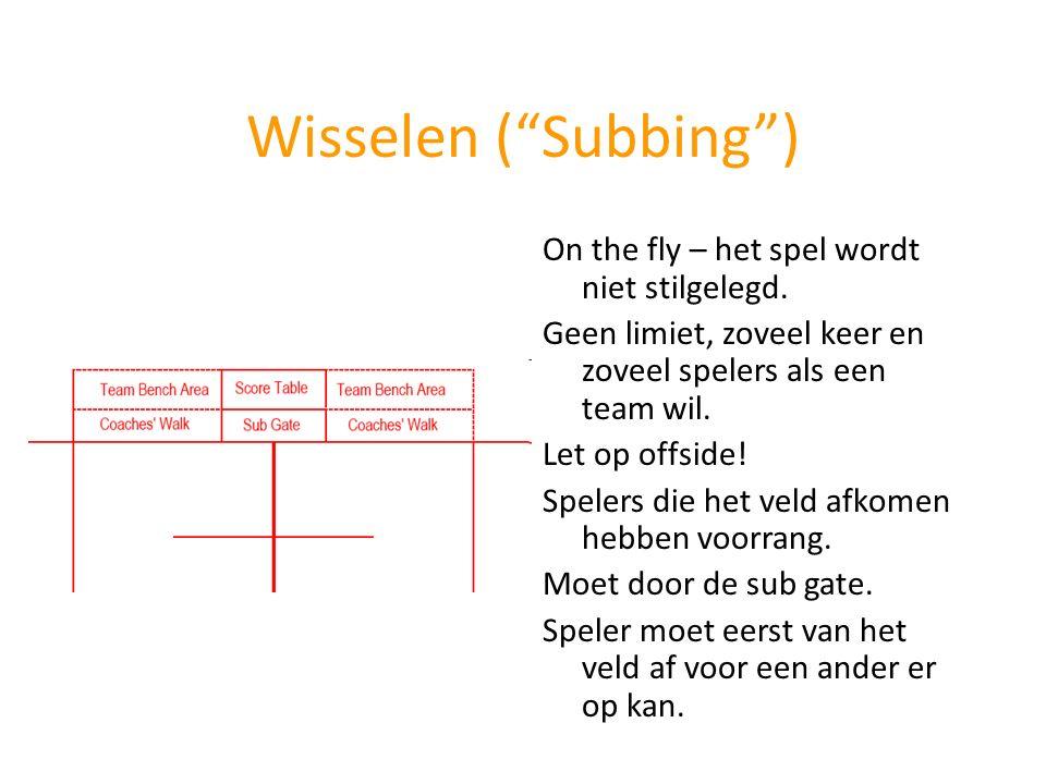 """Wisselen (""""Subbing"""") On the fly – het spel wordt niet stilgelegd. Geen limiet, zoveel keer en zoveel spelers als een team wil. Let op offside! Spelers"""