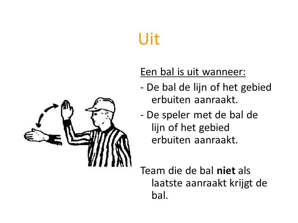 Uit Een bal is uit wanneer: - De bal de lijn of het gebied erbuiten aanraakt. - De speler met de bal de lijn of het gebied erbuiten aanraakt. Team die