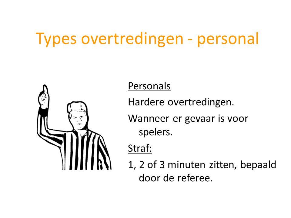 Personals Hardere overtredingen. Wanneer er gevaar is voor spelers. Straf: 1, 2 of 3 minuten zitten, bepaald door de referee. Types overtredingen - pe