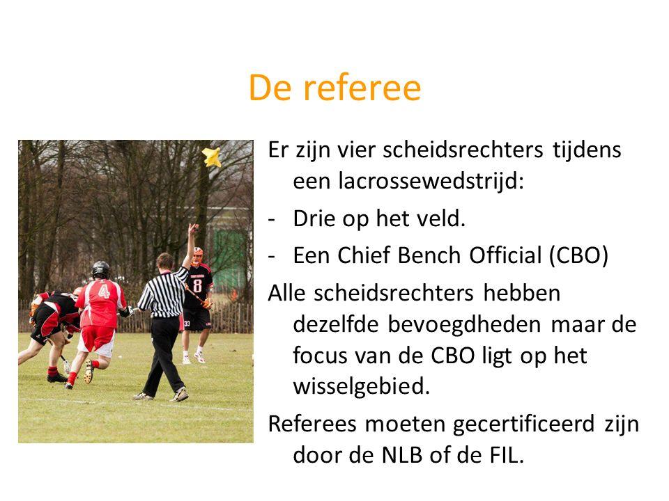 De referee Er zijn vier scheidsrechters tijdens een lacrossewedstrijd: -Drie op het veld. -Een Chief Bench Official (CBO) Alle scheidsrechters hebben