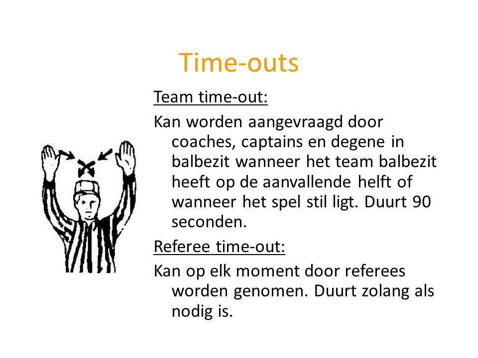Time-outs Team time-out: Kan worden aangevraagd door coaches, captains en degene in balbezit wanneer het team balbezit heeft op de aanvallende helft o