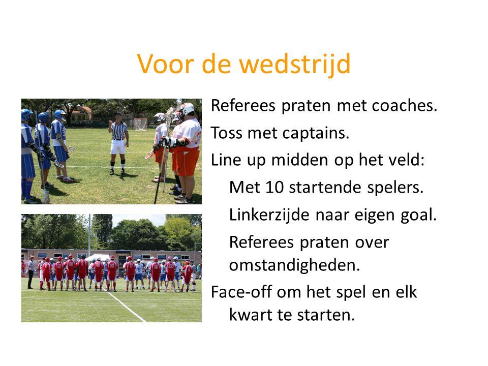 Voor de wedstrijd Referees praten met coaches. Toss met captains. Line up midden op het veld: Met 10 startende spelers. Linkerzijde naar eigen goal. R