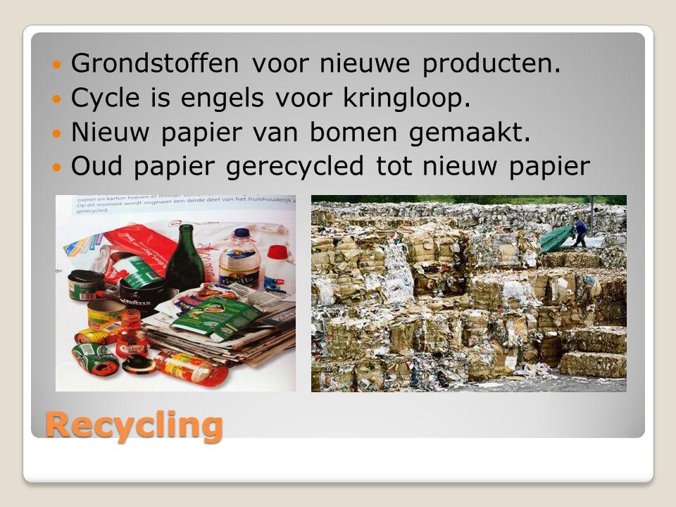 Recycling Grondstoffen voor nieuwe producten.Cycle is engels voor kringloop.