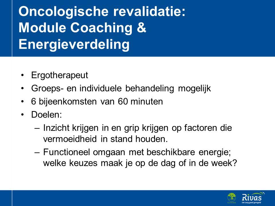 Ergotherapeut Groeps- en individuele behandeling mogelijk 6 bijeenkomsten van 60 minuten Doelen: –Inzicht krijgen in en grip krijgen op factoren die v