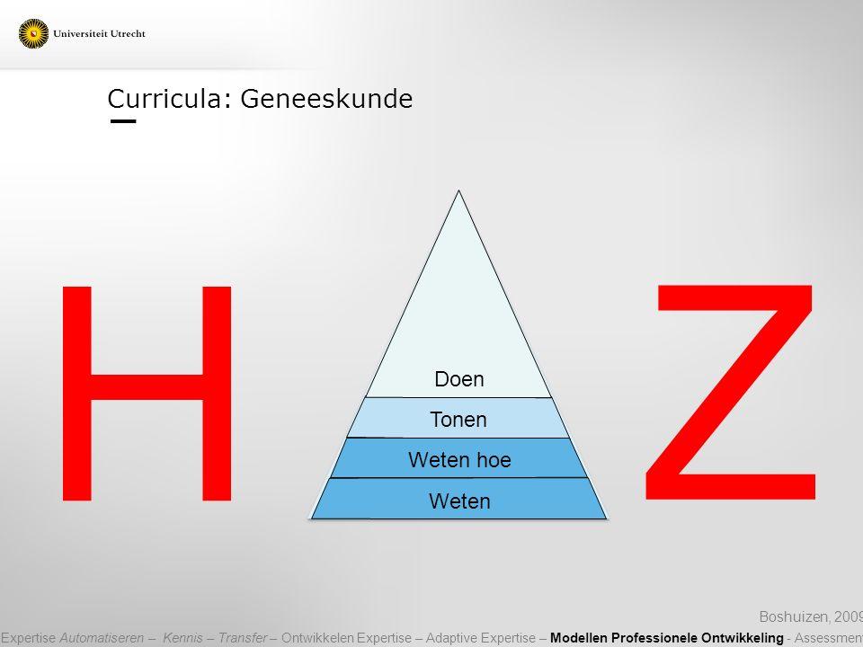 Curricula: Geneeskunde Boshuizen, 2009 H Z Tonen Weten Weten hoe Doen Expertise Automatiseren – Kennis – Transfer – Ontwikkelen Expertise – Adaptive E