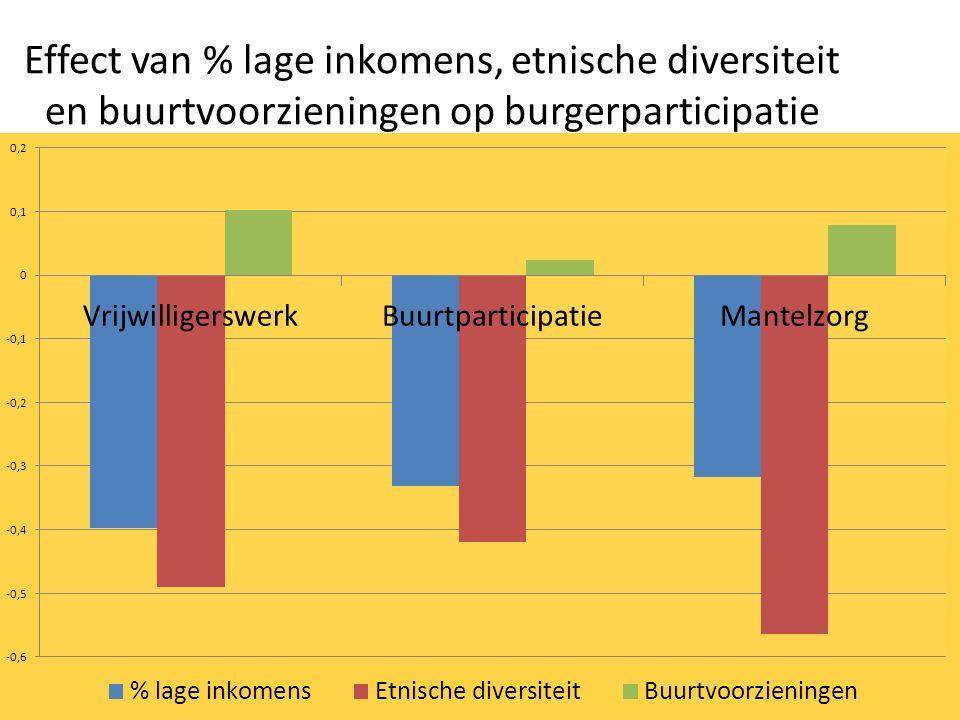 Effect van % lage inkomens, etnische diversiteit en buurtvoorzieningen op burgerparticipatie