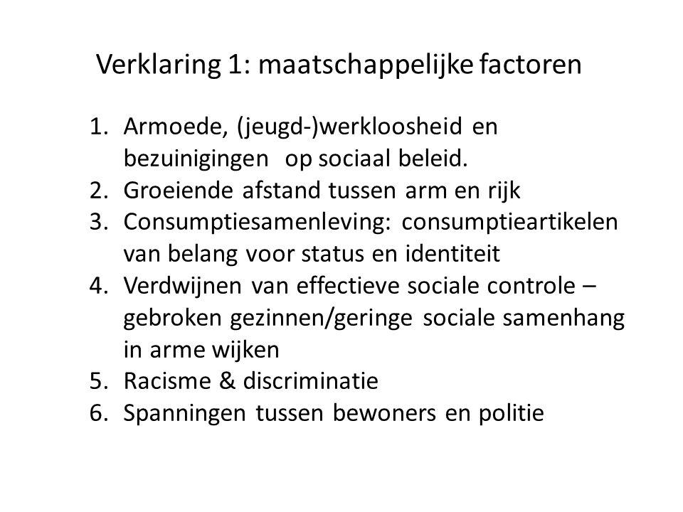 Verklaring 1: maatschappelijke factoren 1.Armoede, (jeugd-)werkloosheid en bezuinigingen op sociaal beleid. 2.Groeiende afstand tussen arm en rijk 3.C