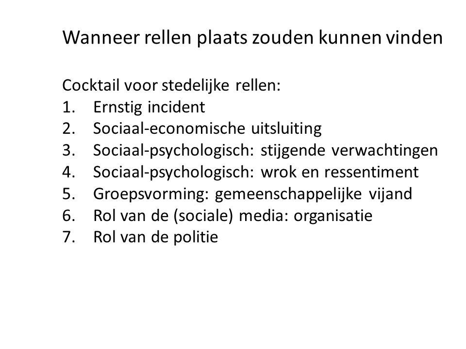 Cocktail voor stedelijke rellen: 1.Ernstig incident 2.Sociaal-economische uitsluiting 3.Sociaal-psychologisch: stijgende verwachtingen 4.Sociaal-psych